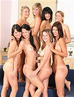 A lot of naked girls standing