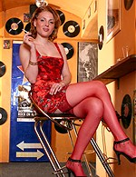 gals with LPs, record albums
