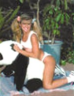 Blonde with Panda posing outdoor