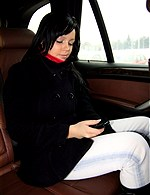 Girls having a belt between their tits seat-belt, handbag, ...