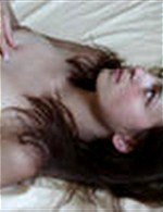 MET Art brunette on bed in greenish blue bikini