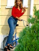 brunette on bike